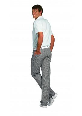 Damen und Herren Jeans-Kochhose schwarz-weiß-pepita