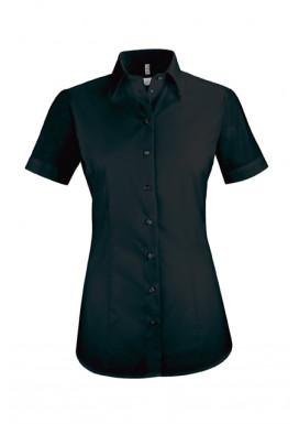 Damen-Bluse Basic Kurzarm Regular Fit, schwarz