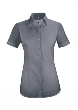 Damen-Bluse Basic Kurzarm Regular Fit, anthrazit