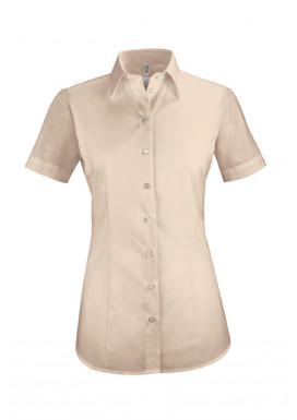 Damen-Bluse Basic Kurzarm Regular Fit, beige