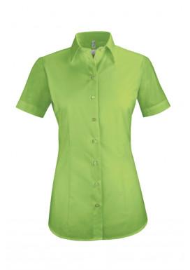 Damen-Bluse Basic Kurzarm Regular Fit, apfelgrün