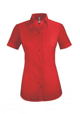 Damen-Bluse Basic Kurzarm Regular Fit, rot