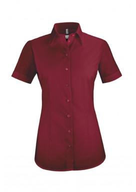 Damen-Bluse Basic Kurzarm Regular Fit, bordeaux
