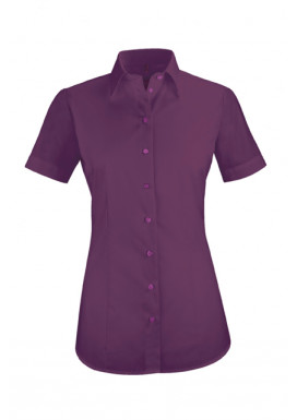 Damen-Bluse Basic Kurzarm Regular Fit, brombeere