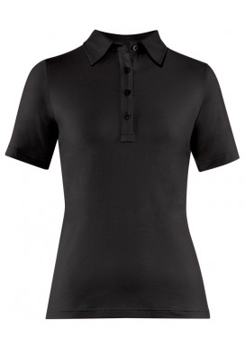 Damen-Polo Kurzarm, Schwarz, Regular Fit
