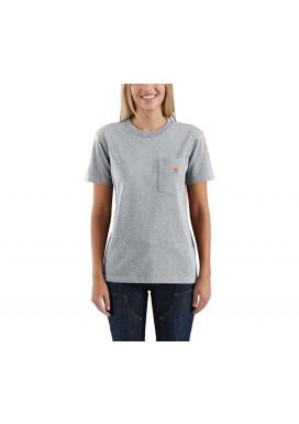 Carhartt Women's Pocket SS T-Shirt, Heather Grey