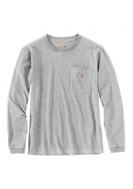 Carhartt Women's Pocket LS T-Shirt, Heather Grey