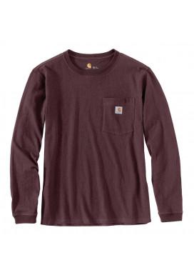 Carhartt Women's Pocket LS T-Shirt, Deep Wine