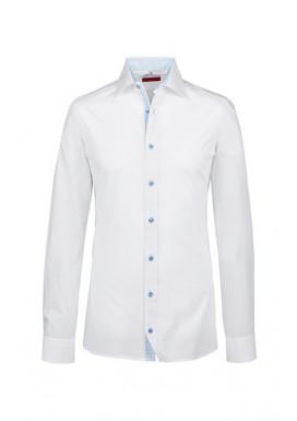 GREIFF Herrenhemd Premium, Slim Fit, langarm, weiß-blau